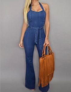 Blue Halter Drawstring Waist Denim Jumpsuit Long Wide Pants Rompers