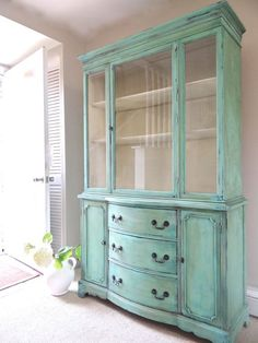 SOLD - Vintage Hand Painted Cottage Chic Shabby Distressed Turquoise / Aqua China Hutch / Display Cabinet / Glass Cabinet
