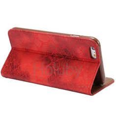 Automatische Absaugung Steinmuster-Kartenhalter-Standplatz-TPU   PU-Leder Tasche für iPhone 6 Plus 6S Plus-Rot