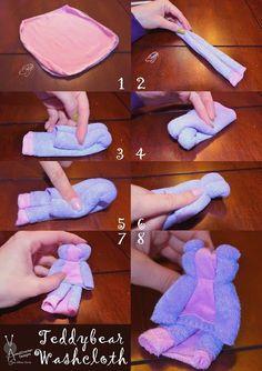 Teddy Bear Washcloth Tutorial