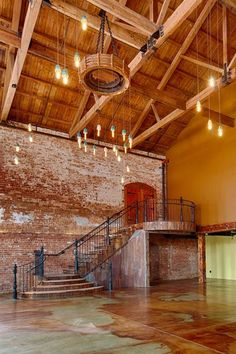 Our custom-made rustic staircase. Photo by David Junker – staircase Wedding Reception Ideas, Barn Wedding Venue, English Wedding, Rustic Staircase, Warehouse Living, Best Barns, Cabin In The Woods, Urban Loft, Rustic Barn