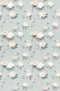 Rhodera by Sanderson - Aqua - Fabric : Wallpaper Direct Vintage Flowers Wallpaper, Textured Wallpaper, Colorful Wallpaper, Flower Wallpaper, Watercolor Design, Watercolor Flowers, Flower Backgrounds, Wallpaper Backgrounds, Floral Texture
