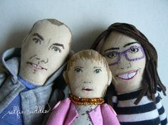 Personalised handmade fabric dolls, portrait dolls, family portrait, embroidery