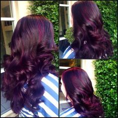 Burgundy Hair With Dark Red Purple And Brown Highlights Ca