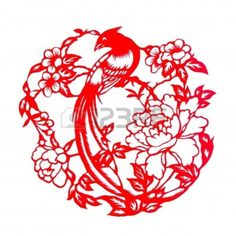 Fine spring day.This is a picture of Chinese paper cutting. paper-cut is one of the traditional Chinese arts and crafts. Stock Photo