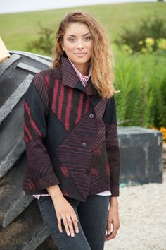 Cropped Zigzag Jacket Raw-Pieced Black and Red. $1995.