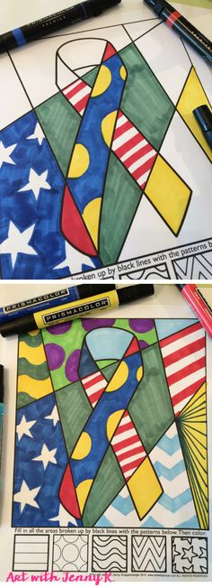 Memorial day coloring activity for kids that is unique and meaningful. Each child designs their own coloring sheet with patterns, designs and colors. No two will ever look the same!