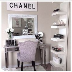 Nice vanity and makeup storage
