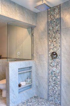 Smart Bathroom Shower Rock Floor Tile Design Ideas - Page 4 of 32 Bathroom Design Small, Bathroom Interior Design, Bathroom Colors, Bathroom Ideas, Bathroom Tiling, Small Bathroom With Shower, Bathroom Mirrors, Small Bathrooms, Bathroom Renovations