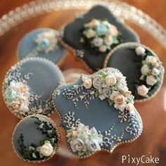 Ideas for cookies wedding vintage beautiful cupcakes Fancy Cookies, Vintage Cookies, Iced Cookies, Cute Cookies, Royal Icing Cookies, Cupcake Cookies, Sugar Cookies, Elegant Cookies, Iced Biscuits