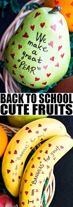 Quick and easy CUTE FRUIT IDEAS for kids parties or BACK TO SCHOOL LUNCH IDEAS. These healthy back to school lunches for kids, teens or adults are fun and only require edible markers. From cakewhiz.com Valentines Healthy Snacks, Easy Snacks, Kid Snacks, Easy Desserts, Good Healthy Recipes, Low Carb Recipes, Snack Recipes, Husband Lunch, Husband Wife
