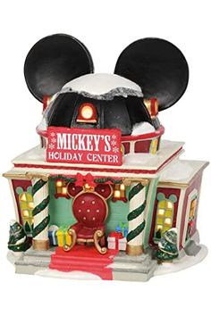 NEW Mickey's Disney Holiday Center Building With Lighted Bulbs And Handpainted Disney Christmas Village, Department 56 Christmas Village, Christmas Story Books, Disney Christmas Decorations, Christmas Village Houses, Mickey Mouse Christmas, Christmas Villages, Holiday Decor, Disney Village