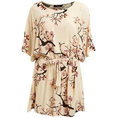 Vila Cherry Blossom Tunic Dress ($43) ❤ liked on Polyvore featuring dresses, cherry blossom dress, lipsy, pink dress, cherry blossom print dress and lipsy dress