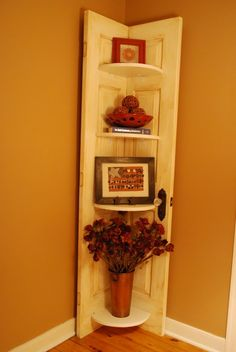 Repurposed existing door with shelves! A nice conversation piece! Restore an old door. There are so many uses!