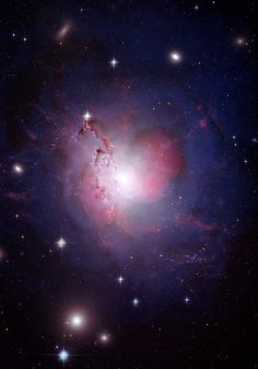 The active galaxy NGC 1275 is also a well-known radio source (Perseus A) and a strong X-ray emitter due to the presence of a black hole in the center of the galaxy. The giant is also at the center of the galaxy cluster known as the Perseus cluster. By combining images at multiple wavelengths in a single composition, the dynamics of the galaxy are most easily visible, the details and structure of the X-rays.