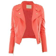 Diana New Womens Faux Leather Biker Gold Button Zip Crop Ladies Jacket... ($40) ❤ liked on Polyvore featuring outerwear, jackets, red biker jacket, red jacket, fake leather jacket, red zipper jacket and red cropped jacket