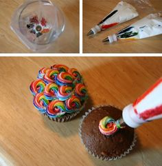Rainbowzombiesatemyunicorn: Rainbow Cupcake Frosting    I never would have guessed this method is so simple! No longer is there an excuse not to do this to your next batch of cupcakes. ;)