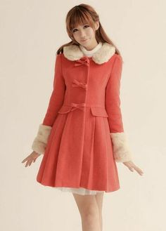 long Style Fur Collar Single Breasted Coat