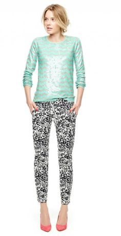 Sequined chevron stripes and leopard pants