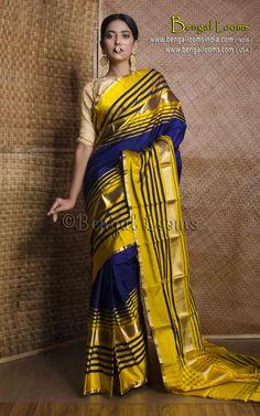 Pure Handloom Churi Border Kanchipuram Silk Saree in Midnight Blue and Yellow