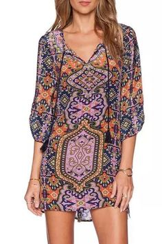V Neck Tribal Print 3/4 Sleeve Dress  (again - tunic, not dress...)