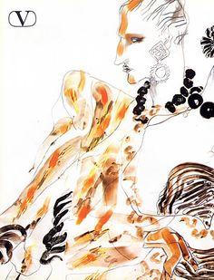 Valentino 1984 Fashion Illustrations Evening Gown Tony Viramontes