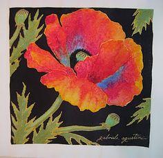 silk painting Painting Tips, Fabric Painting, Painting & Drawing, Painting Pictures, Pictures To Paint, Painted Silk, Hand Painted, Poppy Drawing, Silk Art