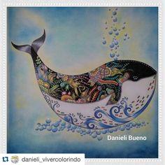 """Boa Noite Pessoal!!!!! Que baleia mais lindaaaaaaaaa!!!!!  @danieli_vivercolorindo amei!!!!!"""