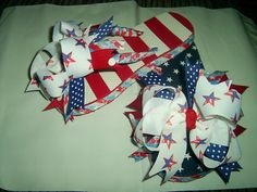 4th of July boutique Ribbon Bow Flip Flops SUPER by HairbowsNMore, $22.99
