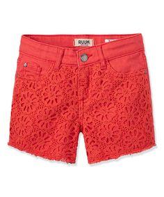 Another great find on #zulily! Cayenne Crochet-Front Shorts - Toddler & Girls #zulilyfinds