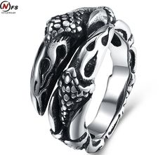 NFS Vintage Stainless Steel Jaws Of A Dragon Men Ring Exaggerated Punk-rock Eagle Claw Ring Drop Ship. Yesterday's price: US $6.99 (5.72 EUR). Today's price: US $5.17 (4.24 EUR). Discount: 26%.