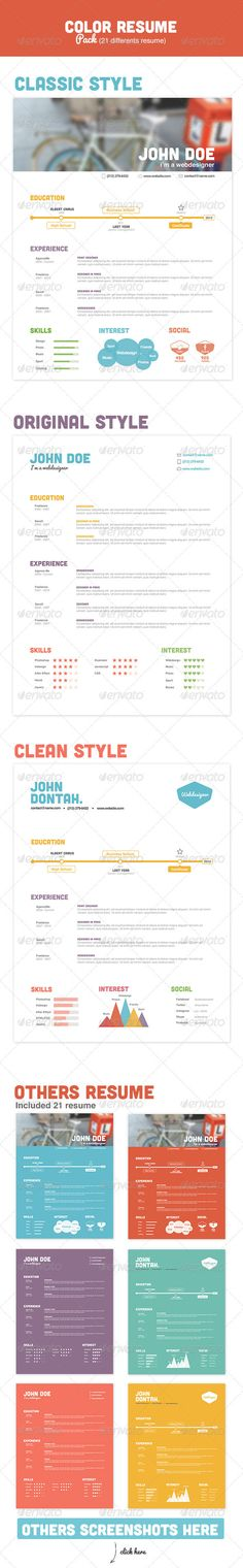 color resume pack graphicriver item for sale resume skills resume tips resume cv