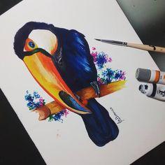 Tucano em aquarela / Watercolor    Artist: Amanda Barroso #watercolor #aquarela #tucano