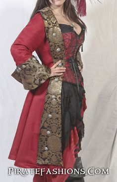 Lady Pirate Coats N Jackets – Pirate Fashions Costume Steampunk, Steampunk Pirate, Steampunk Clothing, Steampunk Fashion, Gypsy Clothing, Gothic Fashion, Victorian Steampunk, Pirate Jacket, Pirate Garb