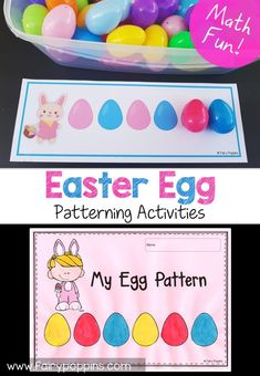 Spring patterning activities for kids. These patterning worksheets and activities help kids to copy and create patterns such as AB, AAB, ABC, AABB and ABCD. The free patterning activities are great for developing fine motor skills. Easter Activities For Kids, Spring Activities, Kindergarten Activities, Toddler Activities, Preschool Activities, Easter Crafts For Preschoolers, April Preschool, Montessori Preschool, Montessori Elementary