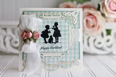 Happy Birthday Card Making Ideas by Becca Feeken using Spellbinders A2 Scalloped Borders One, Spellbinders S4-380 Decorative Labels Twenty Seven, Spellbinders S4-383 Marvelous Squares - full supply list and links at www.amazingpapergrace.com/?p=31770