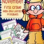 NO PREP printables - first grade November and Thanksgiving.  Forty printables on sale for only $4!! WOW!