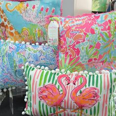 Add a pop of color & whimsical flair to your home with Lilly Pulitzer decorative pillows. #shopdewaynes #lillypulitzer