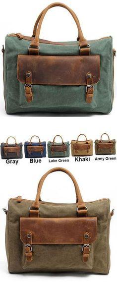 b5c9288e7d4c Vintage Square Briefcase Laptop Zipper Handbag Thick Canvas Splicing Leather  Shoulder Bag for big sale !