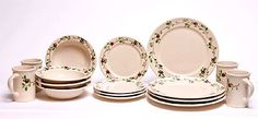 Dinner Set for Four, Cranberry Pattern: Made in the USA and Lead-Free   Emerson Creek Pottery