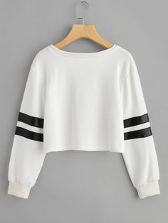 Varsity Striped Crop Sweatshirt -SheIn(Sheinside)