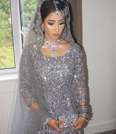 Gorgeously Adorned in Silver! Simple Pakistani Dresses, Pakistani Wedding Outfits, Indian Bridal Outfits, Indian Bridal Fashion, Indian Dresses, Pakistani Bridal Jewelry, Bridal Lehenga, Walima Dress, Asian Wedding Dress