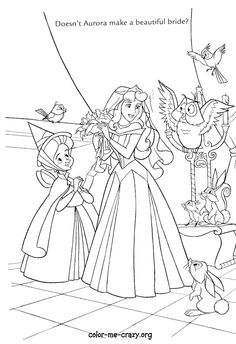 A whole bunch of Disney Princess Wedding themed colouring pages to keep the little girls entertained   http://www.colormecrazy.org/characterpages/disneyweddingwishes.html  http://coloringdisney.tumblr.com/tagged/wedding