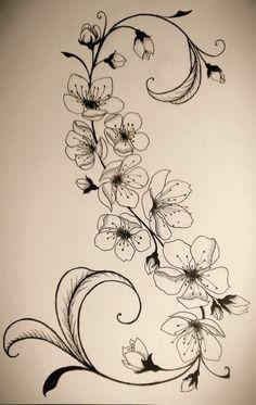 Tattoovorlage Blumenranken stilvoller Look - Tattoo, Tattoo ideas, Tattoo shops, Tattoo actor, Tattoo art Tattoo template flower tendrils stylish look Cage Tattoos, Body Art Tattoos, Mini Tattoos, Tatoos, Flower Vine Tattoos, Tattoo Drawings, Art Drawings, Tattoo Templates, Blossom Tattoo