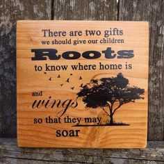 Roots and Wings  Beautiful Wooden Quote Sign #tnteam, #etsy, #MegAndMosClubhouse