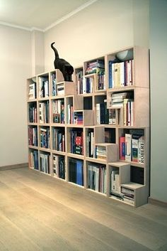 Cat library - bookcase with cat steps by Corentin Dombrecht spoiled-cats