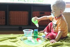 Let your kids play with water. Easier clean up than paint and just as engaging!