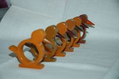 how cute are these?  vintage bakelite chick napkin rings