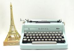 royal typewriter ICE BLUE RARE quiet de luxe  by thespectaclednewt