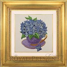 Machine Embroidery Design Hydrangea in the teacup